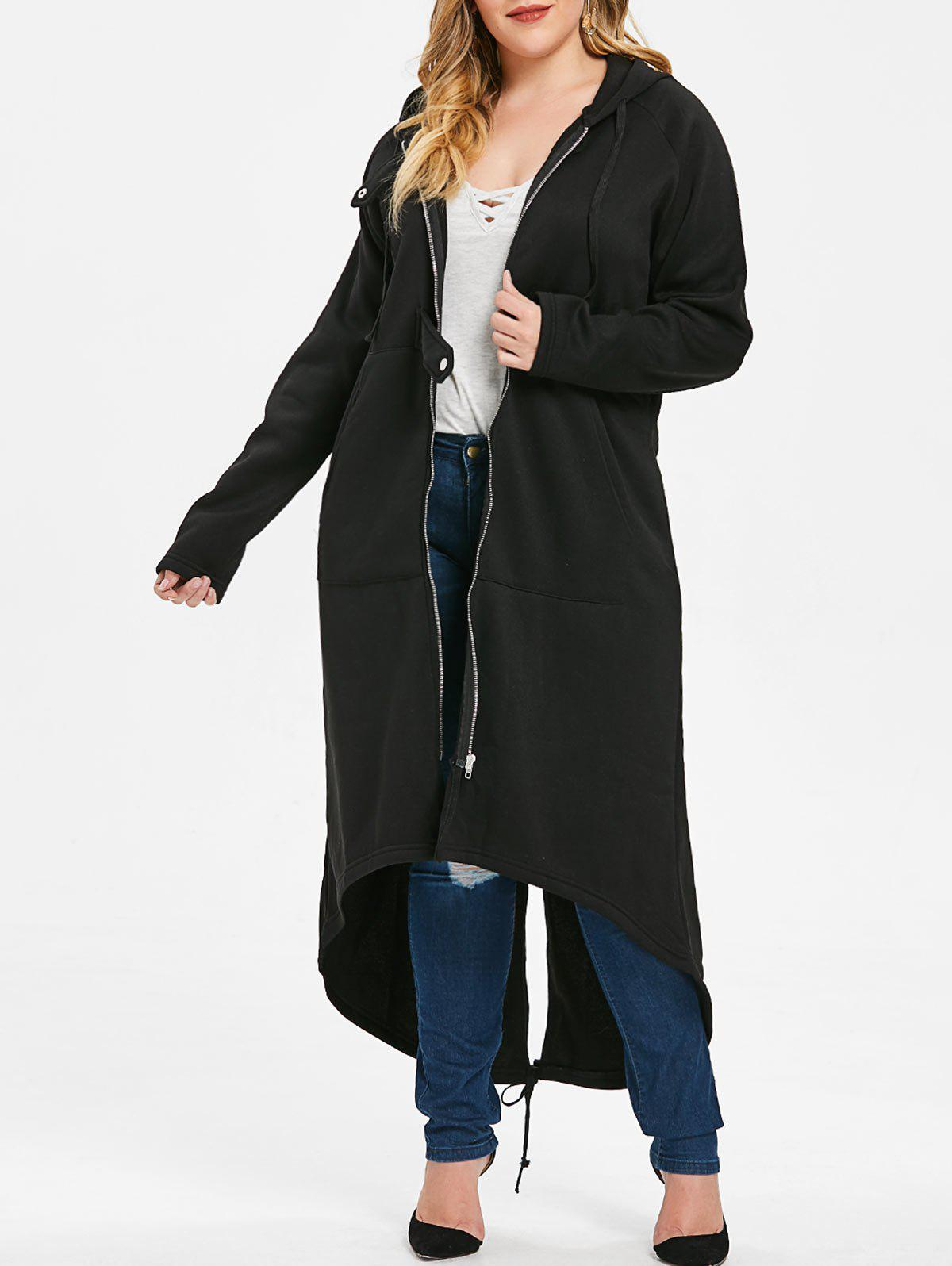 Hot Plus Size Hooded Front Pockets Long Coat