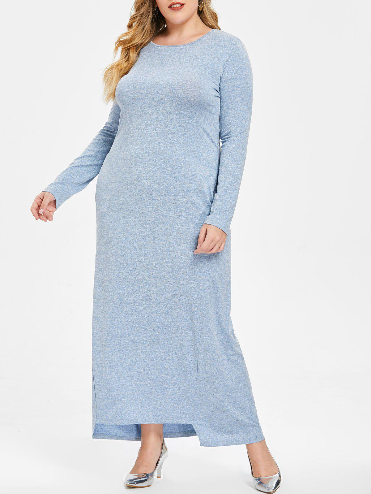 Outfits Round Neck Plus Size Long Sleeve Maxi Dress
