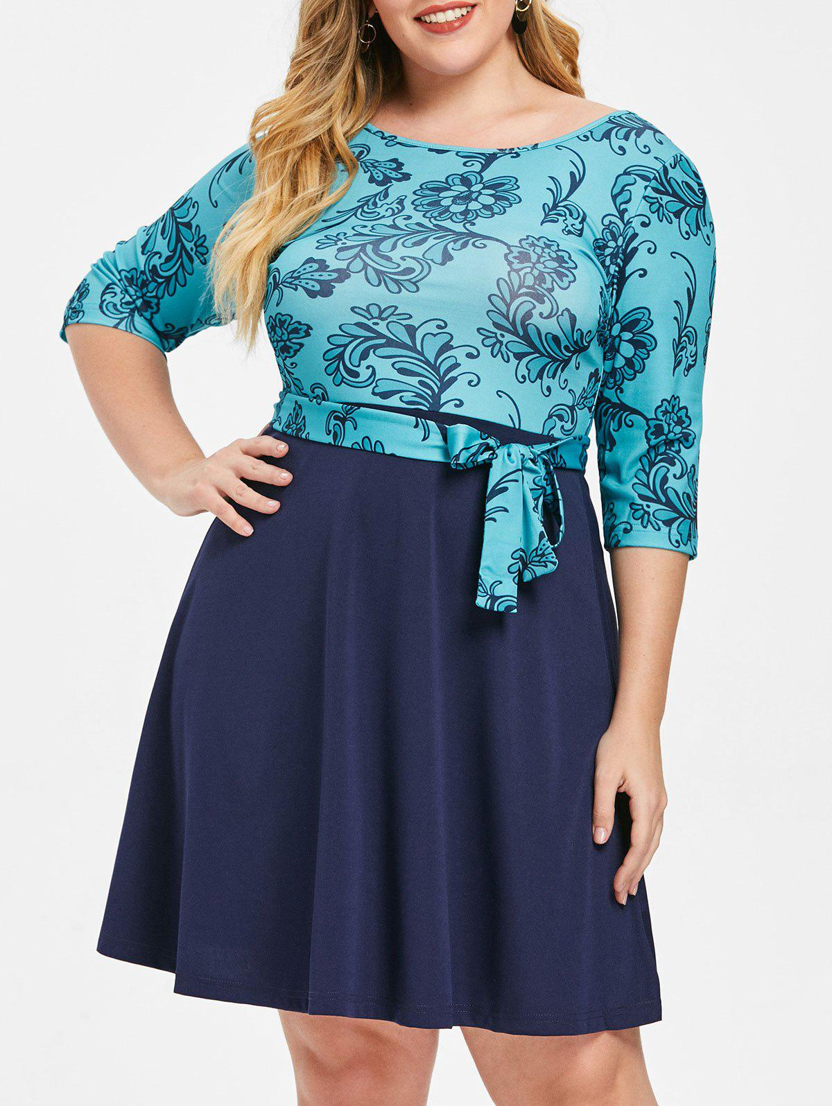 Buy Round Neck Plus Size Printed A Line Dress