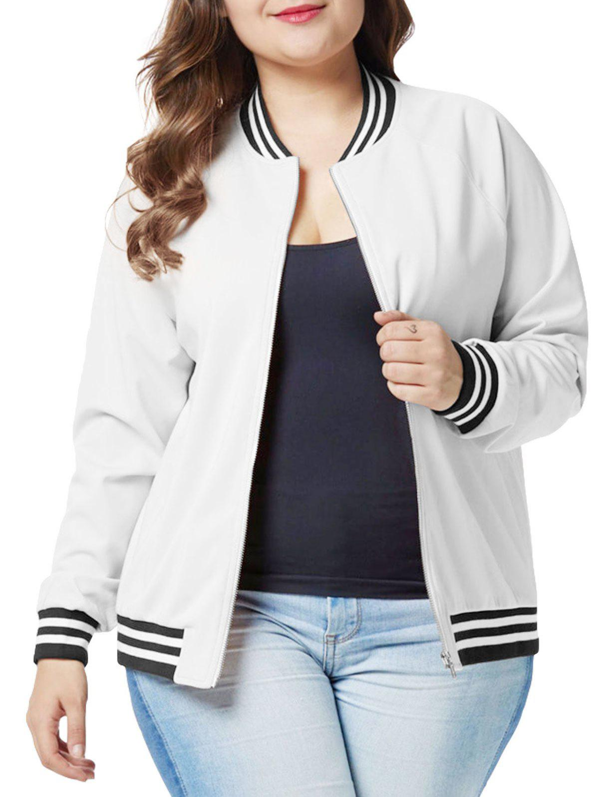 Buy Plus Size Raglan Sleeves Zipper Fly Jacket