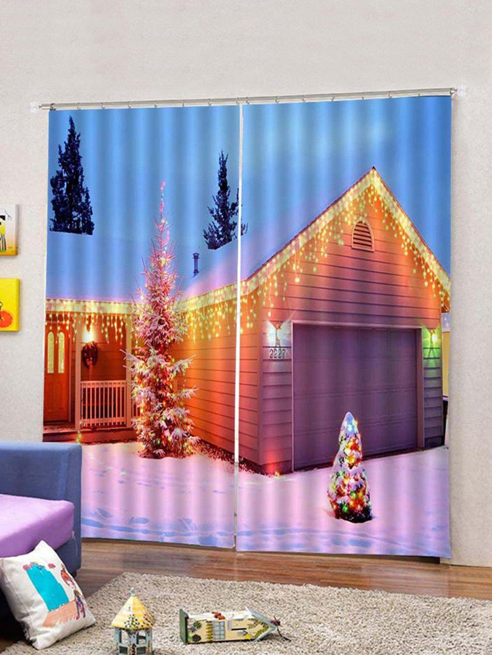 Discount 2Pcs Lighting Christmas House Printed Window Curtains