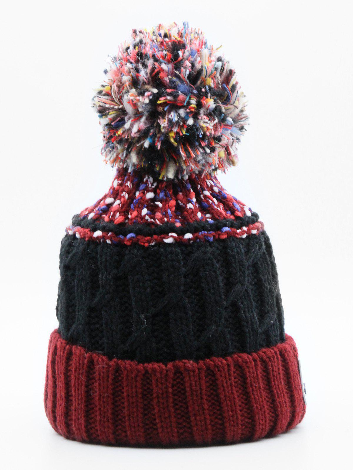 Affordable Winter Knitting Fuzzy Ball Beanie