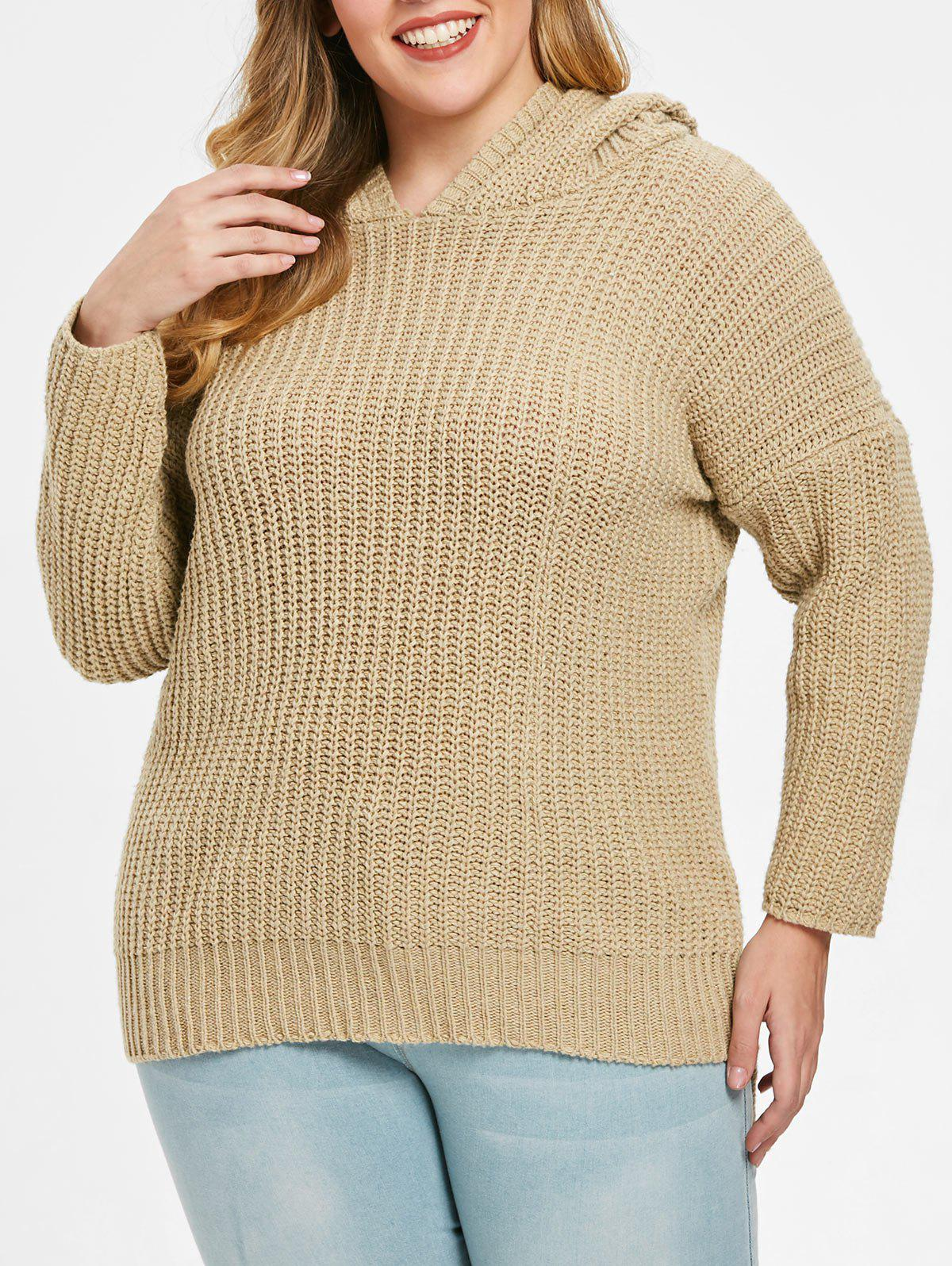 Trendy Drop Shoulder Plus Size High Low Sweater