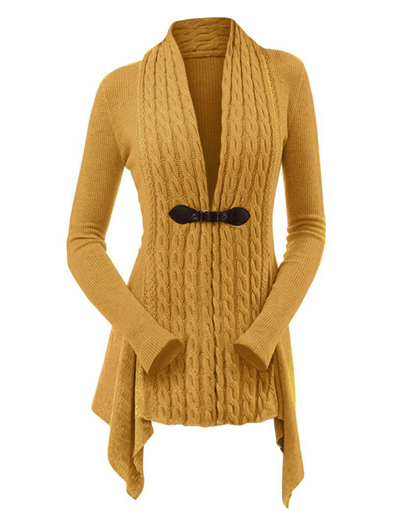 f0cd69a5a0 51% OFF   2019 Cable Knit Asymmetrical Long Cardigan