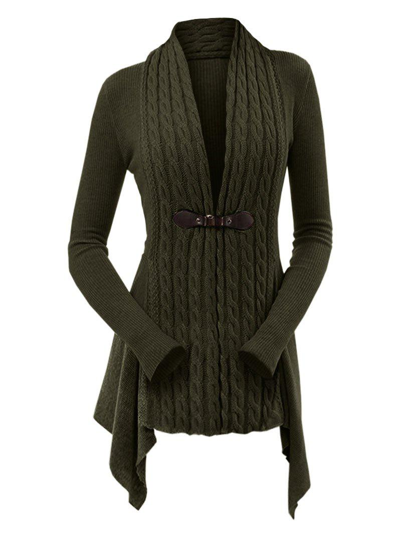 Chic Cable Knit Asymmetrical Long Cardigan
