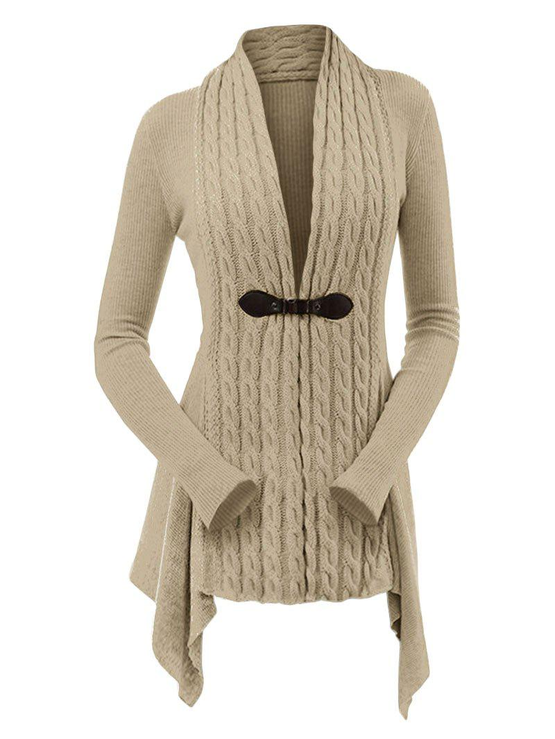 306dc8813839 49% OFF   2019 Cable Knit Asymmetrical Long Cardigan