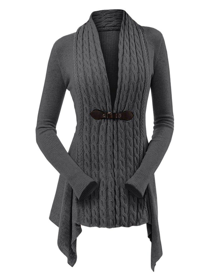 New Cable Knit Asymmetrical Long Cardigan