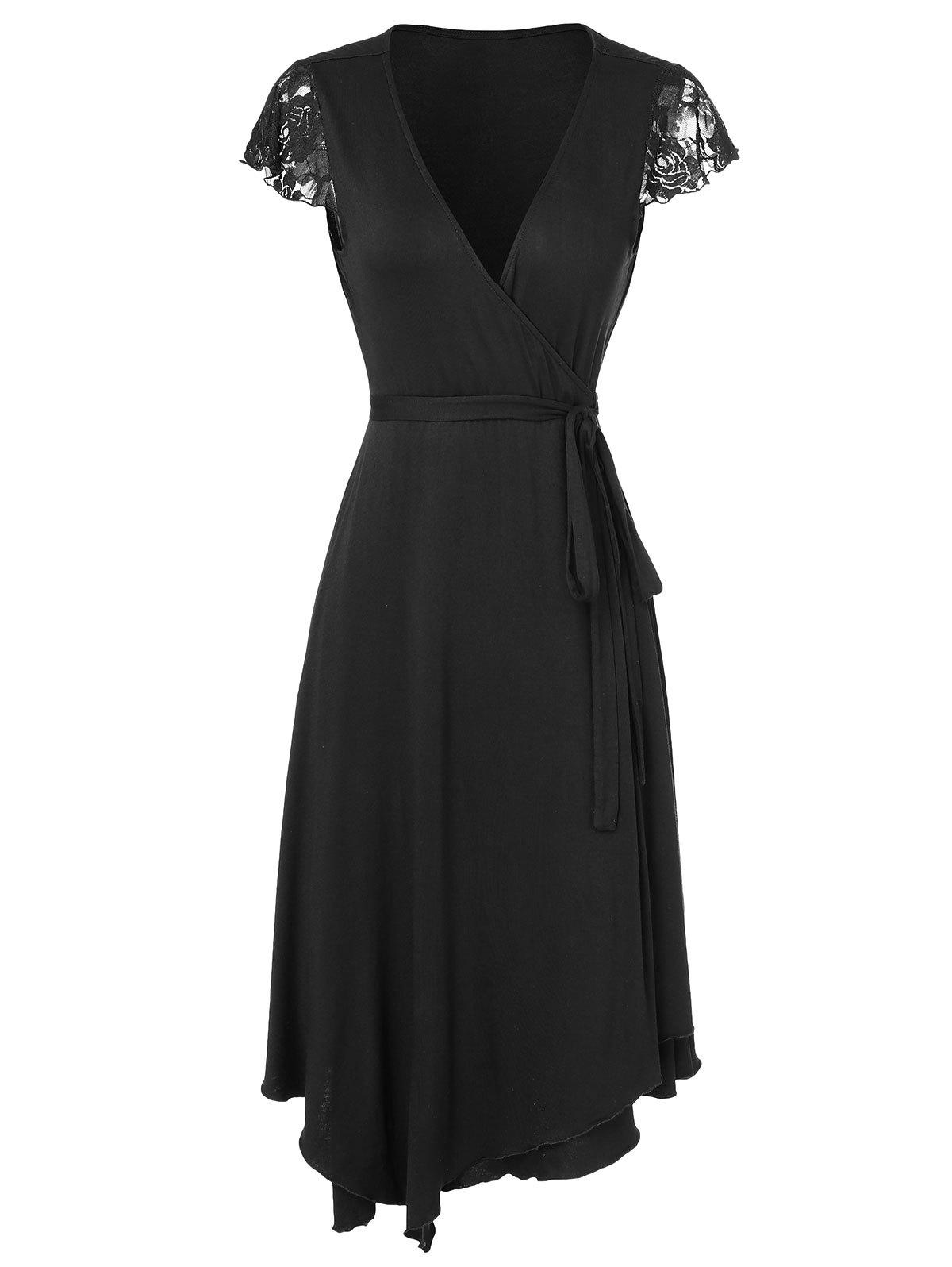 Latest V Neck Wrap Asymmetrical Dress