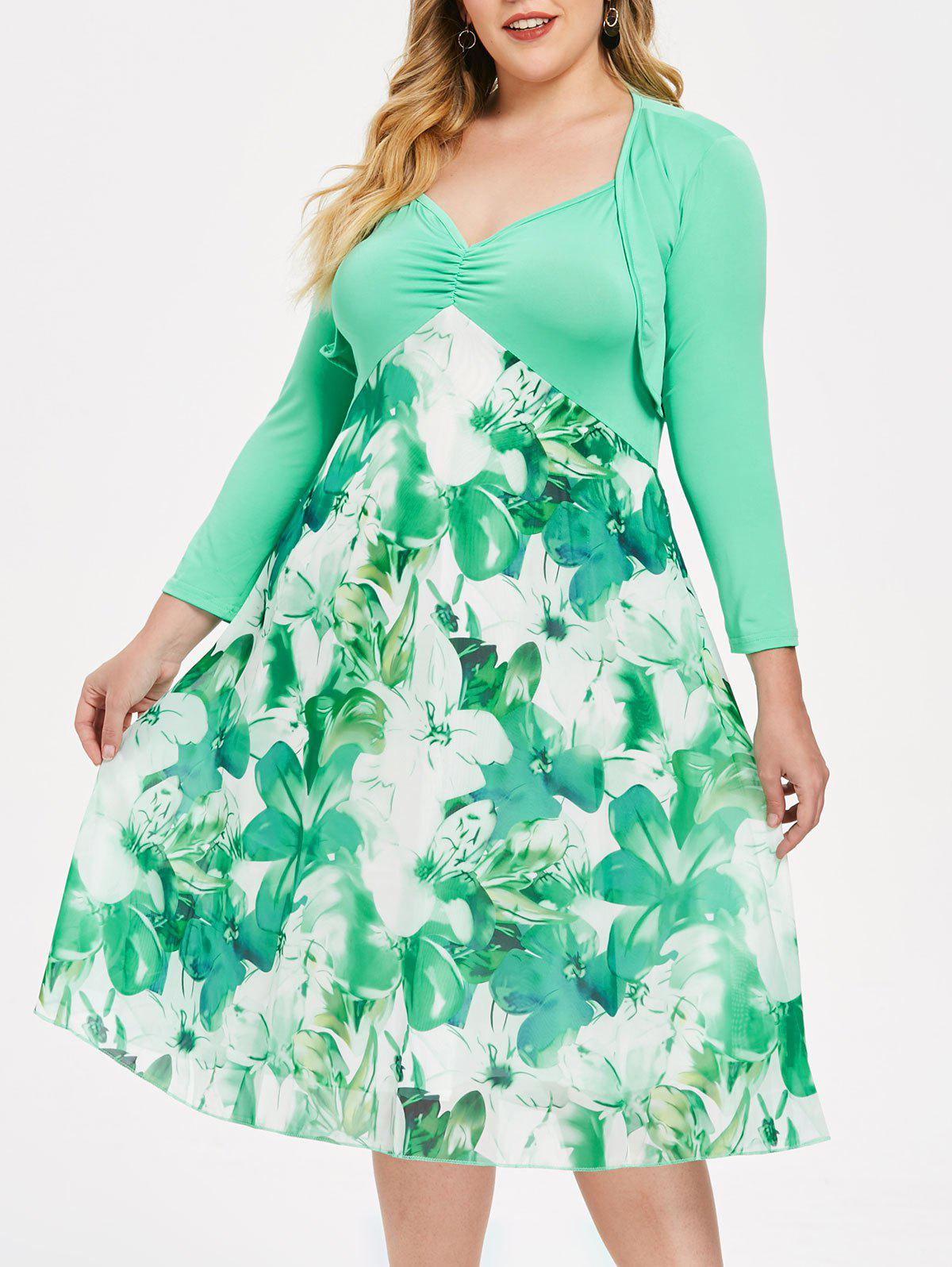 Discount Floral Print Plus Size Chiffon Slip Dress with Coat