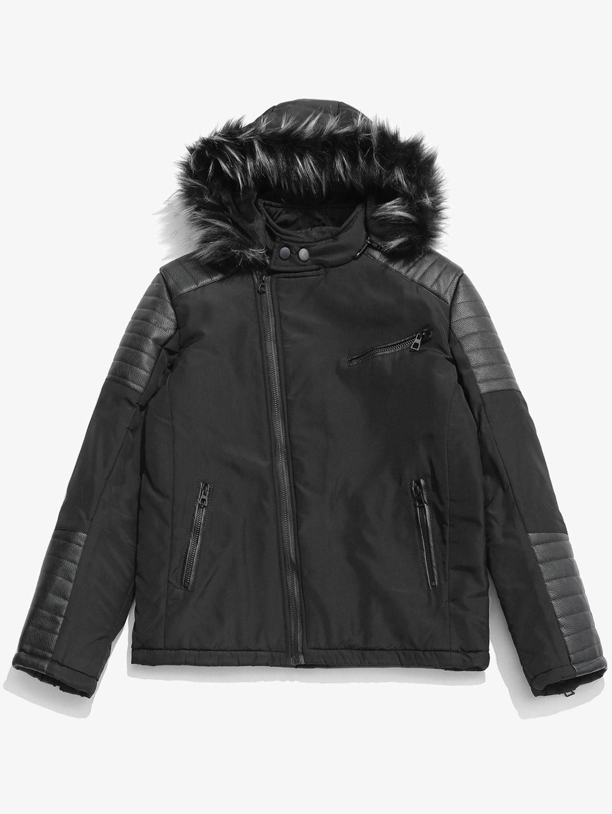 Unique Faux Fur Hoodie Zipper Patchwork Parka Coat