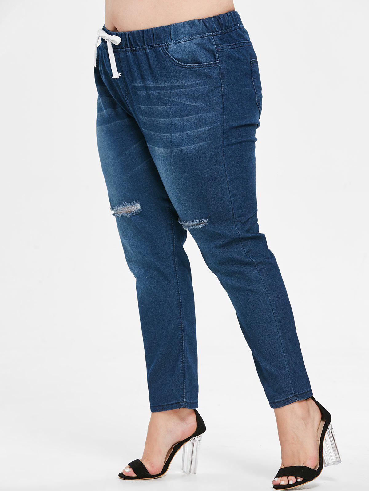 Fancy Plus Size Drawstring Waist Ripped Jeans