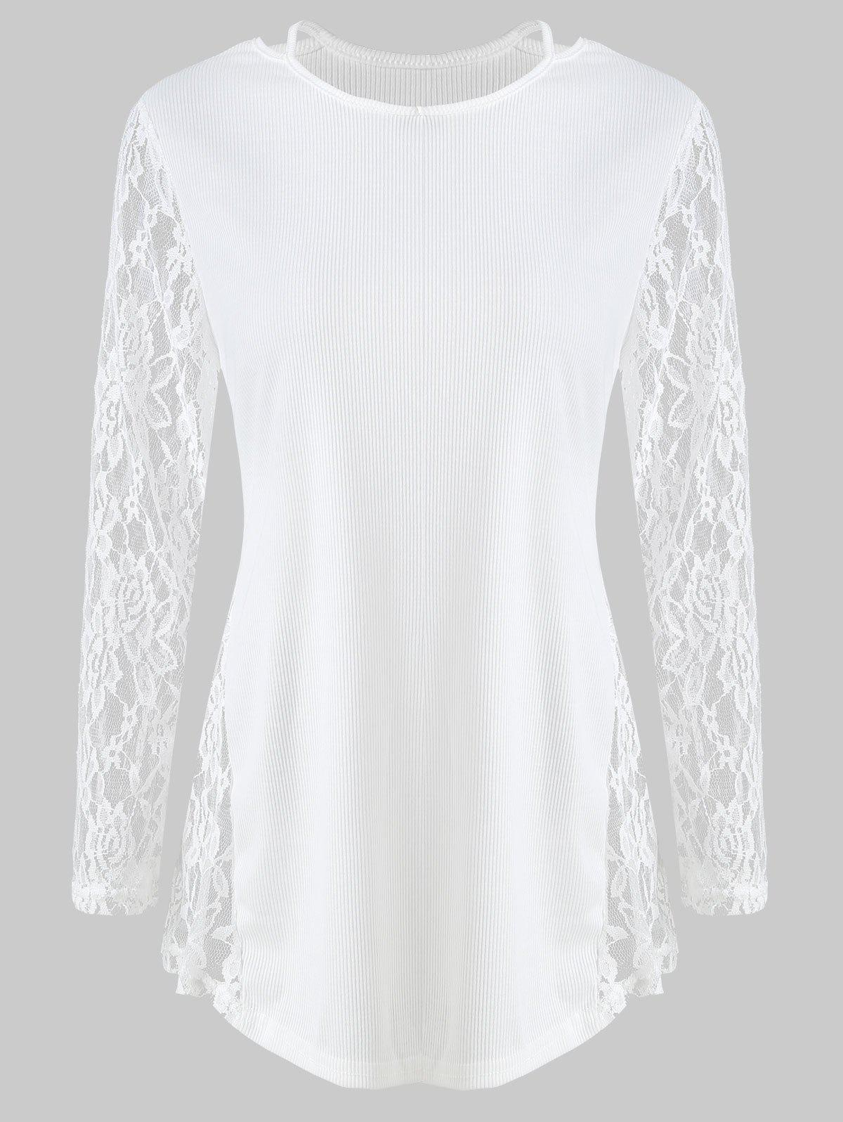 Discount Lace Panel Cut Out T Shirt