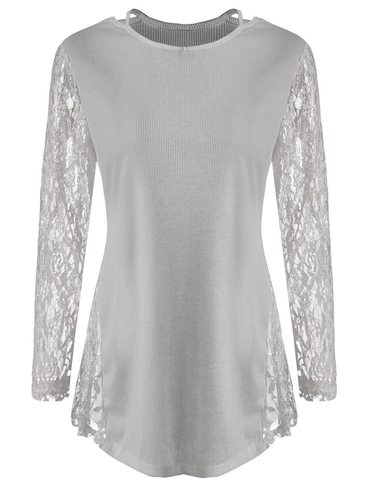Chic Lace Panel Cut Out T Shirt