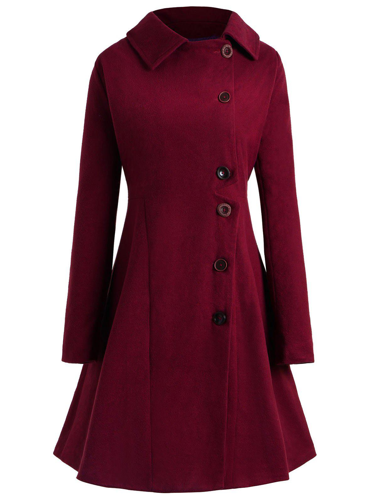 Store Plus Size Hooded Flare Coat
