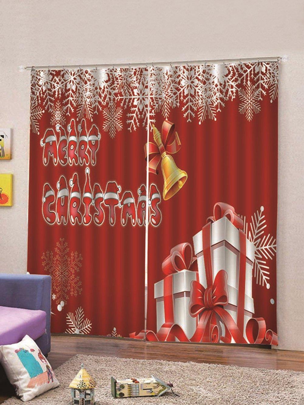 Affordable 2Pcs Christmas Gift and Letter Window Curtains