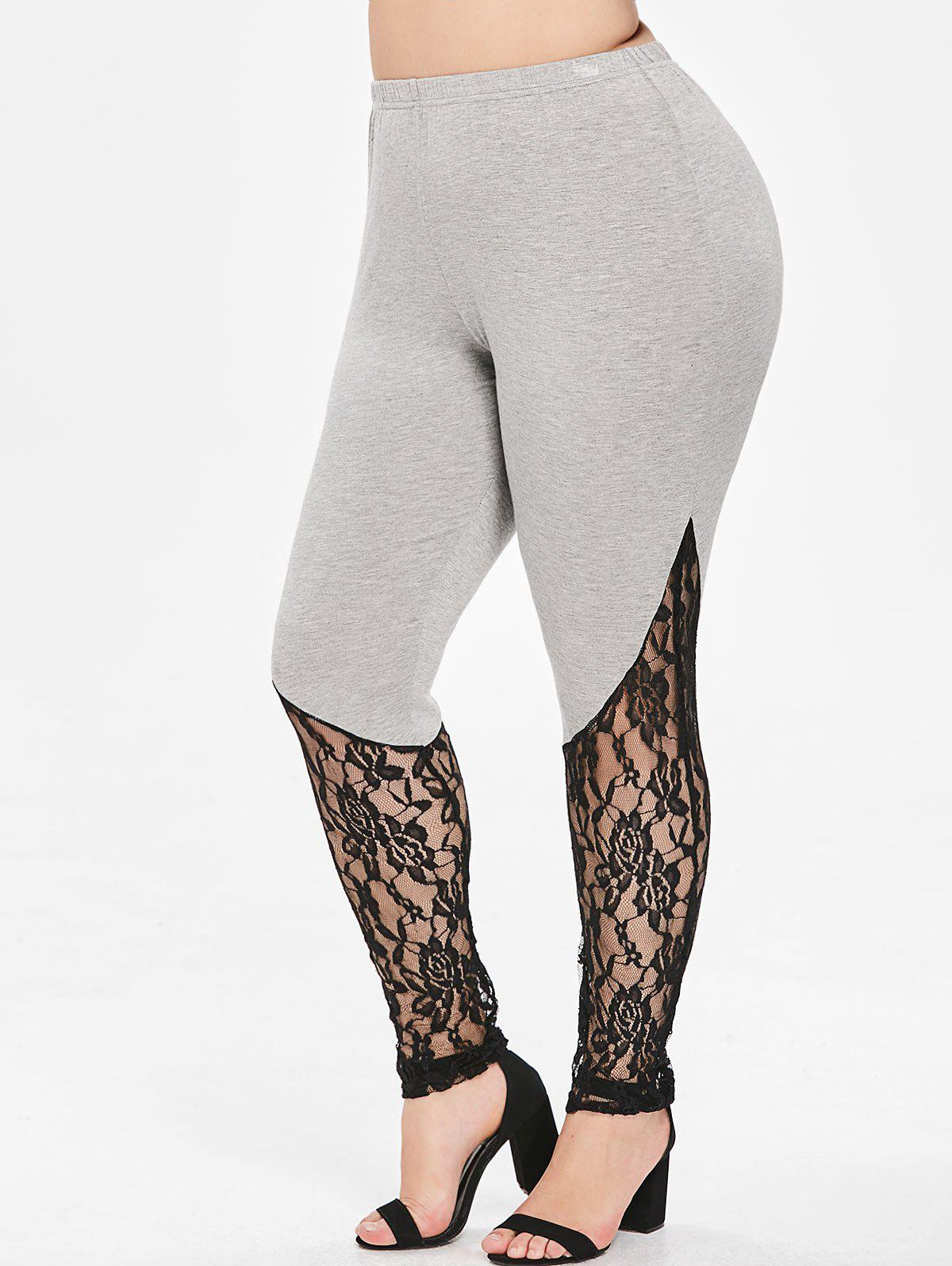 Unique Plus Size Floral Lace Trim Leggings