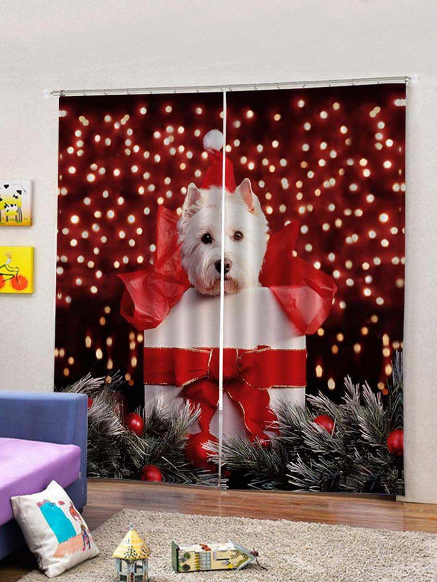 Cheap 2Pcs Christmas Gift and Dog Window Curtains