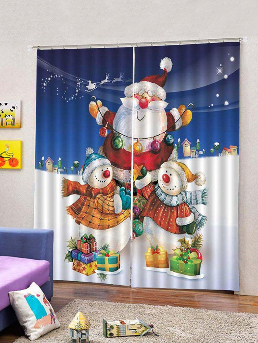 Outfit 2Pcs Christmas Santa Carrying Gifts Window Curtains