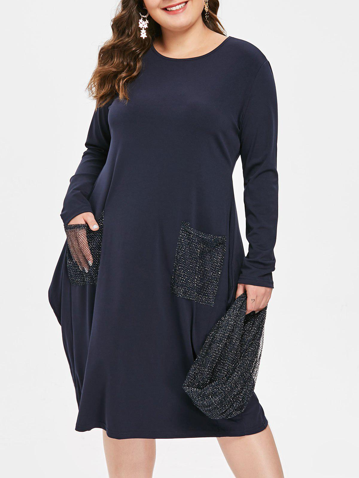 442e6d39fa0 2019 Front Pockets Plus Size Knee Length Dress With Scarf