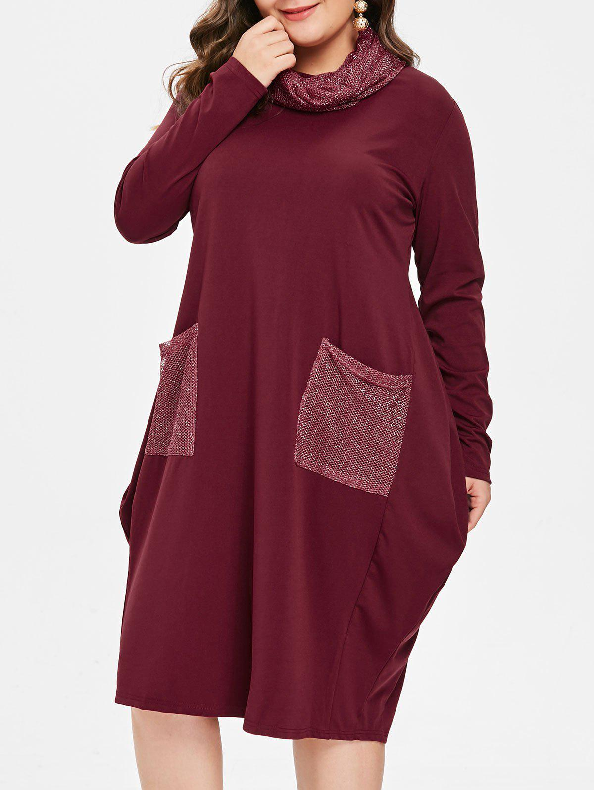Fancy Front Pockets Plus Size Knee Length Dress with Scarf