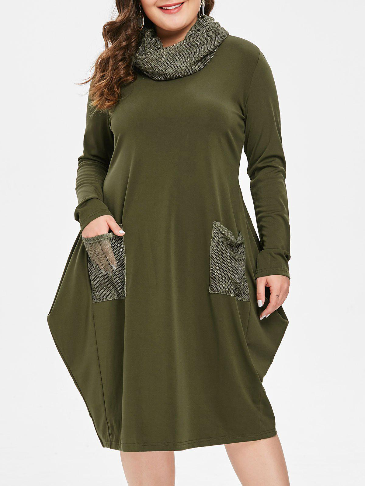 Online Front Pockets Plus Size Knee Length Dress with Scarf