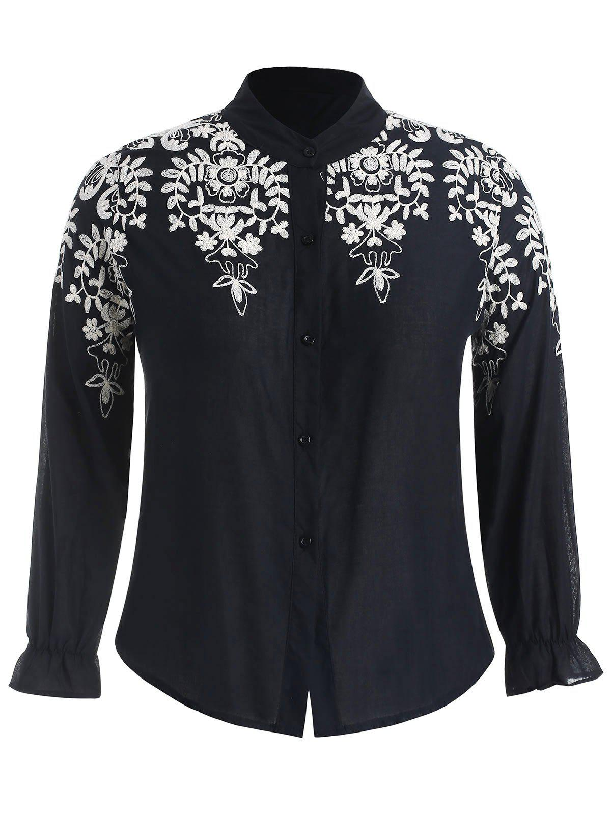 Fancy Plus Size Contrast Floral Embroidered Shirt