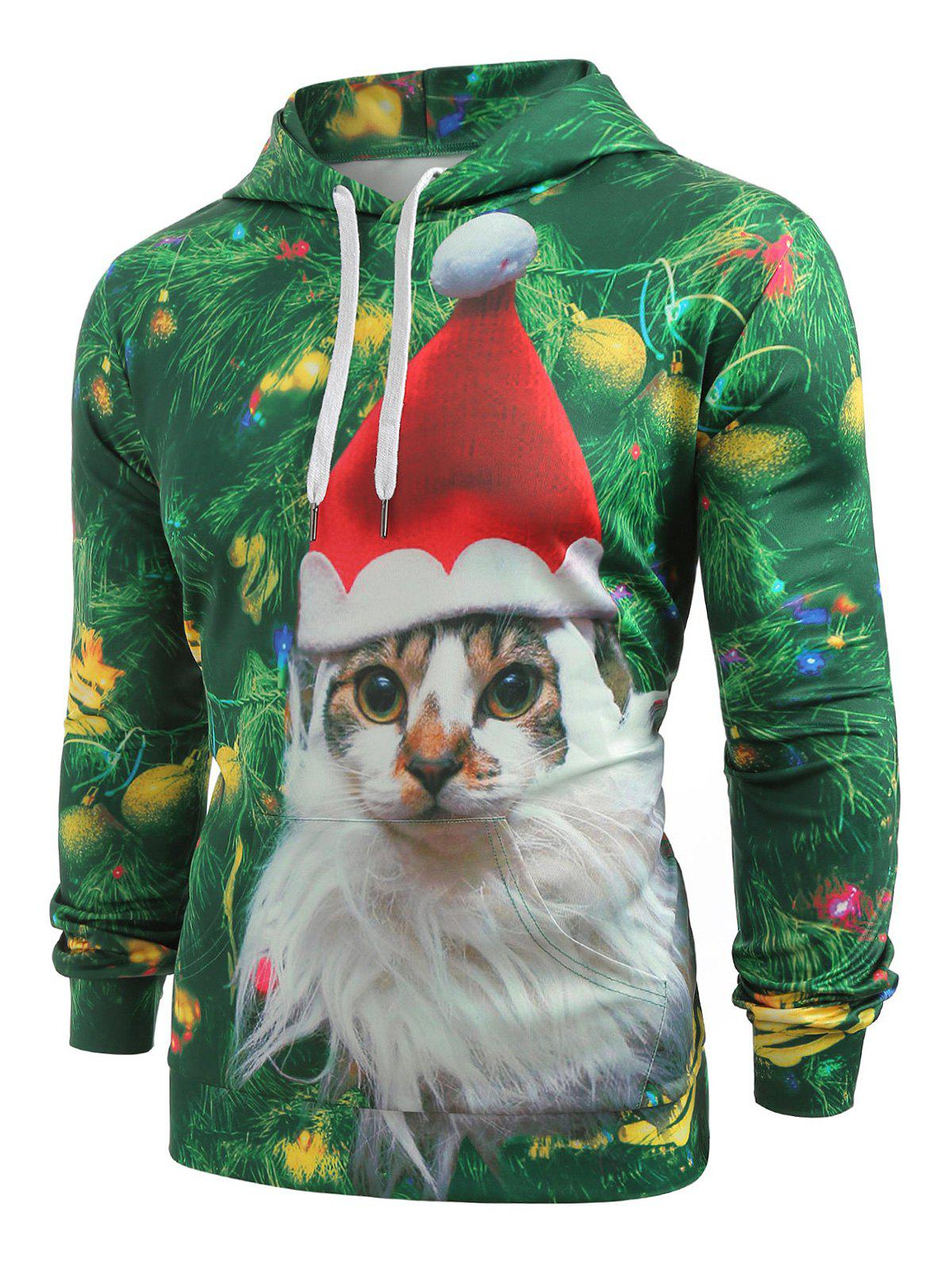 Outfit Cat with Christmas Hat Baubles Printed Casual Hoodie