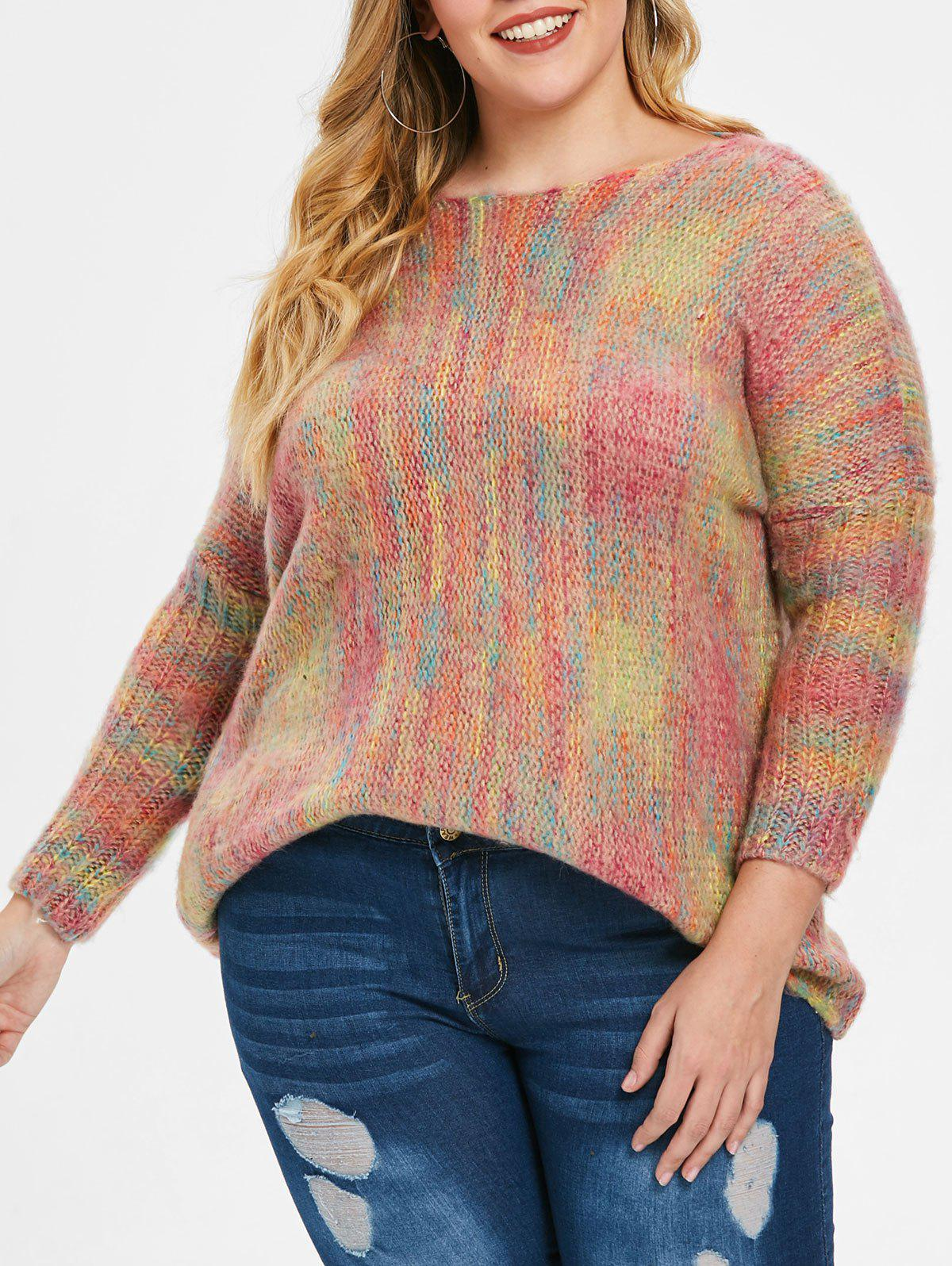 Sale Batwing Sleeve Plus Size Round Neck Sweater