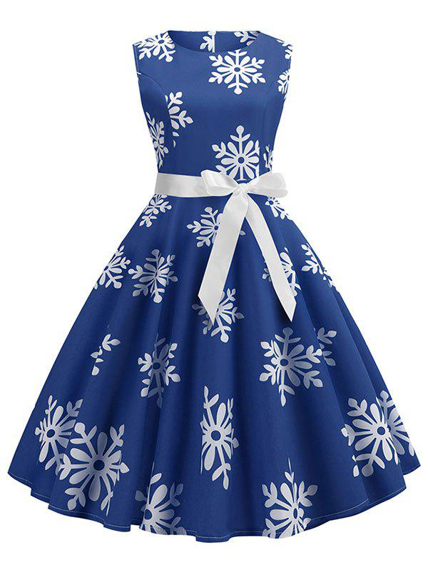 Unique Christmas Snowflake Print Belted A Line Dress