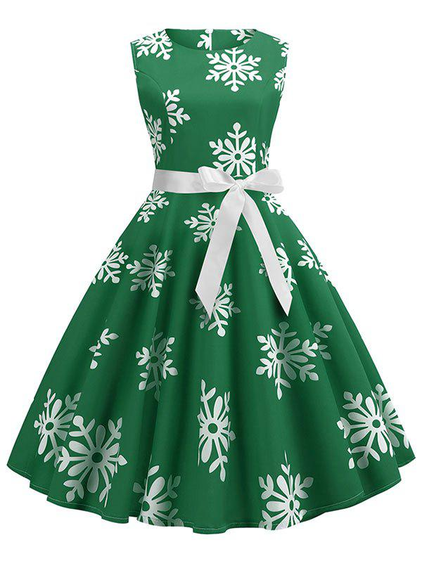 Fashion Christmas Snowflake Print Belted A Line Dress