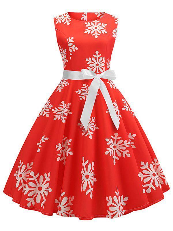 Store Christmas Snowflake Print Belted A Line Dress