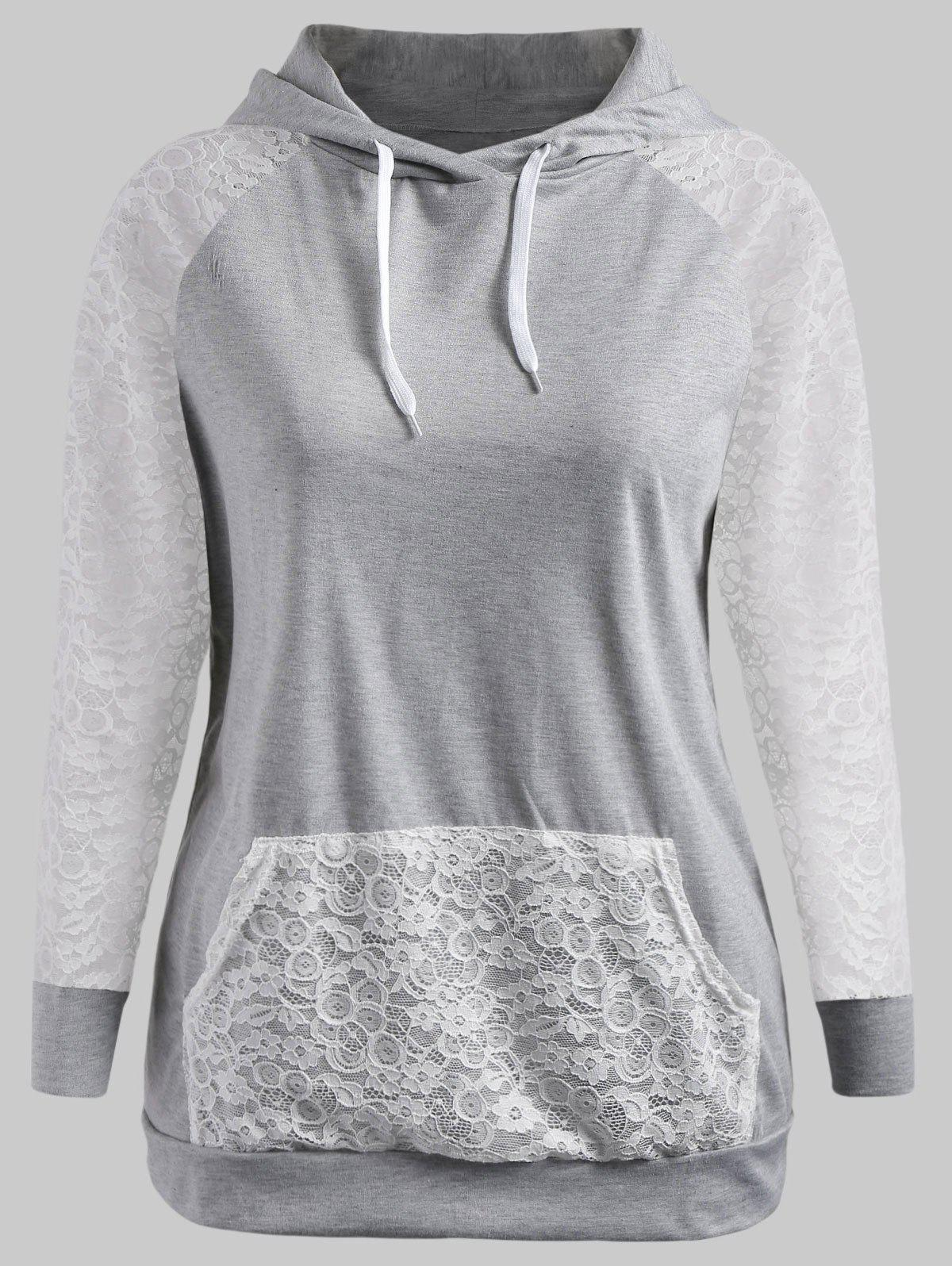 Cheap Drawstring Lace Sleeve Plus Size Hoodie