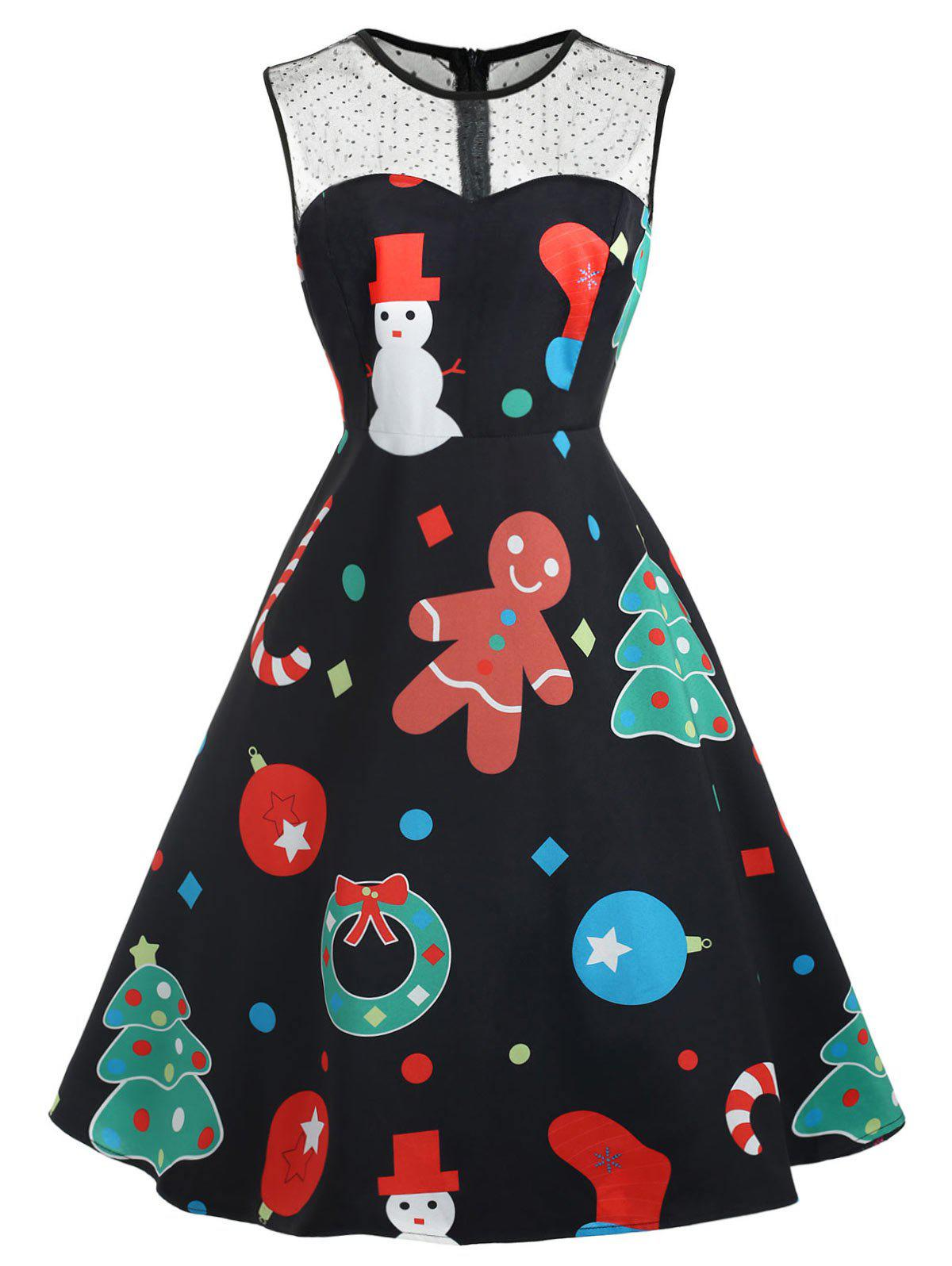 Discount Plus Size Vintage Christmas Graphic Dress with Mesh