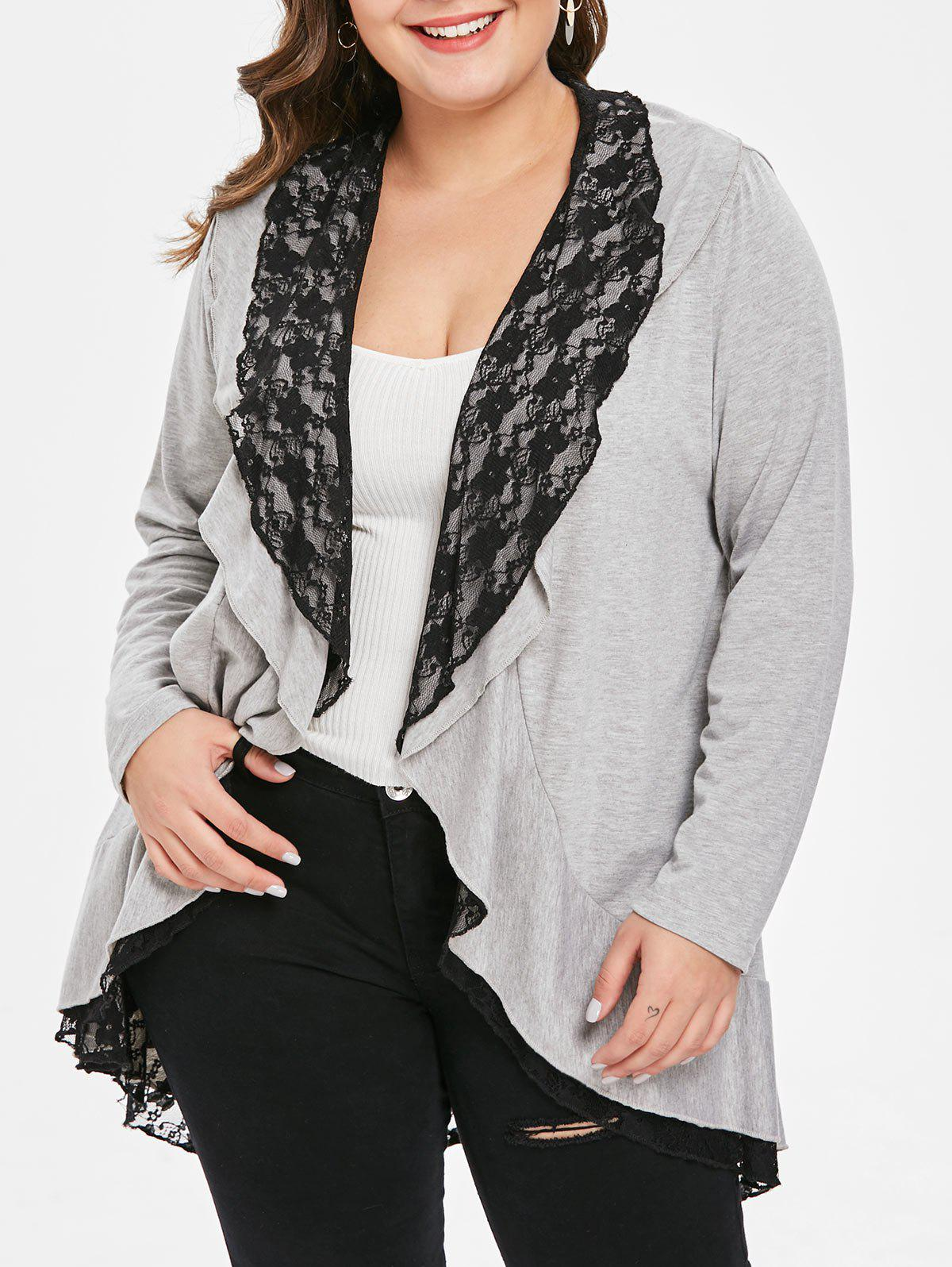 Affordable Plus Size Lace Spliced Duster Coat