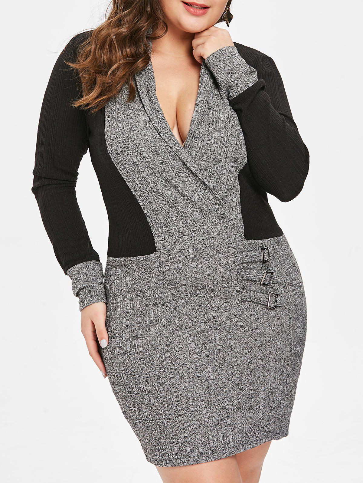 Discount Plus Size Shawl Collar Contrast Knitted Bodycon Dress