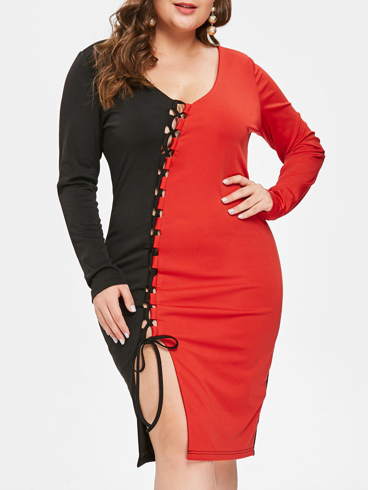 New Plus Size Lace Up Contrast Bodycon Dress