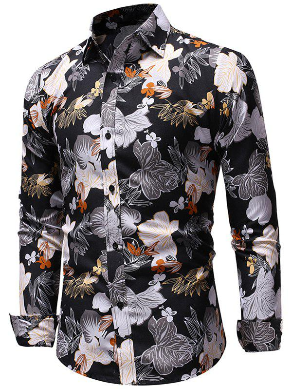 Allover Flowers Print Long Sleeve Shirt