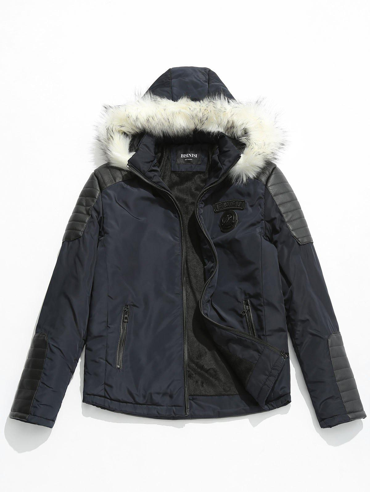 Buy Applique Faux Fur Hoodie PU Parka Coat
