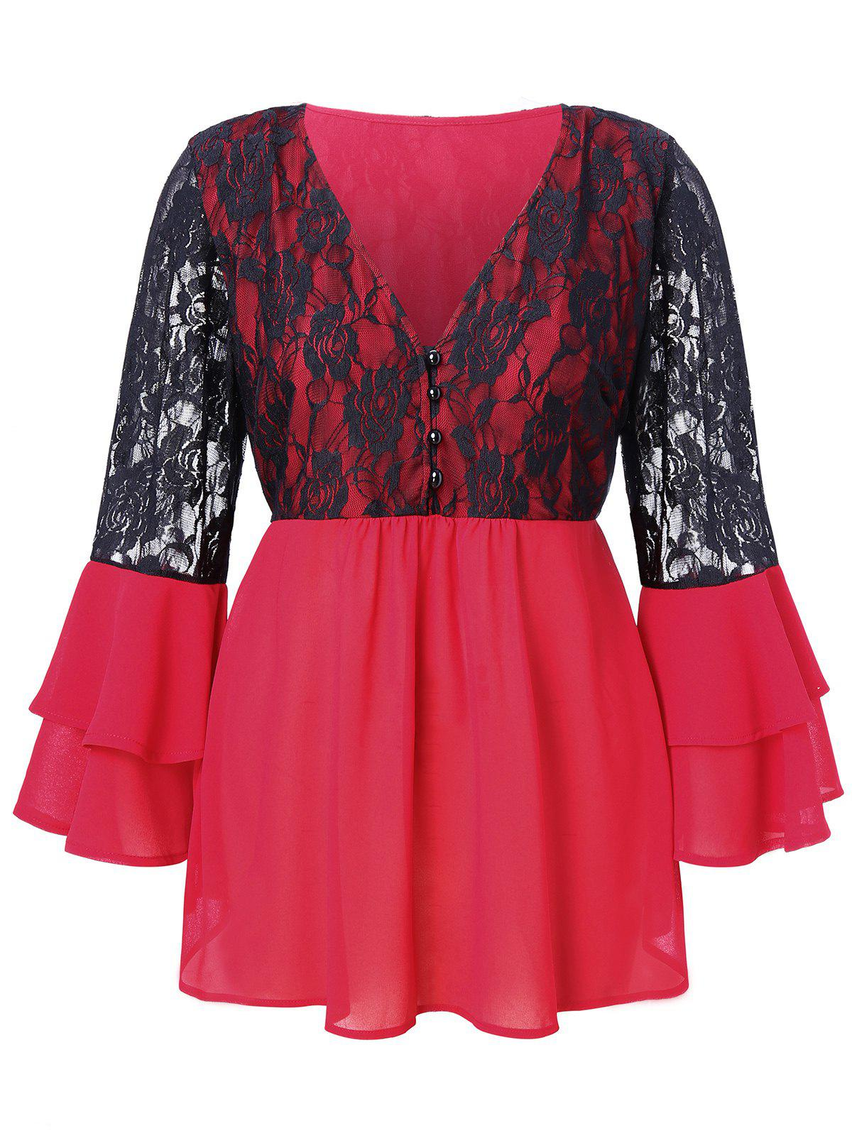 Fancy Plus Size Lace Splicing Multilayer Flare Sleeve Blouse