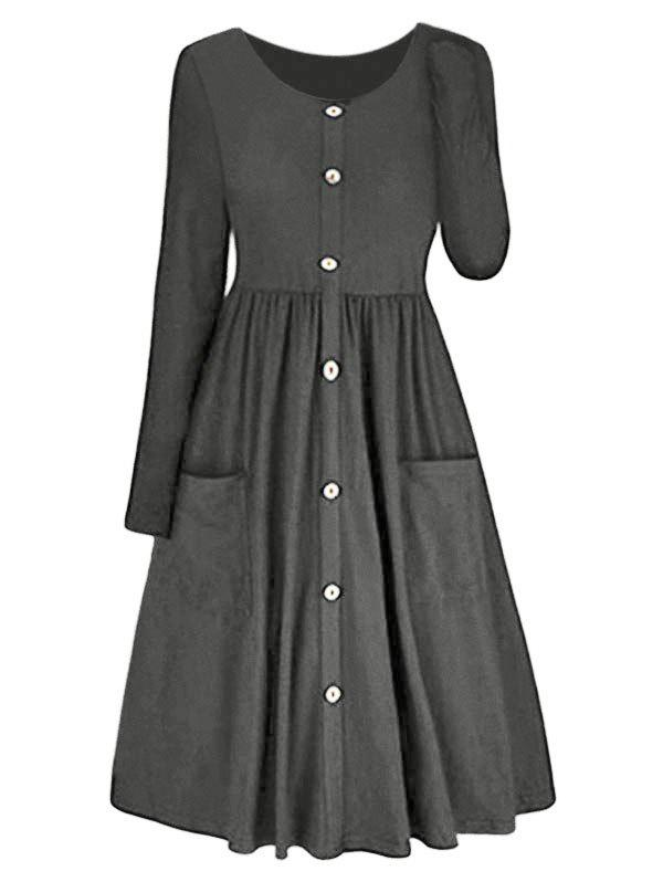 Outfit Long Sleeve A-line Button Front Dress