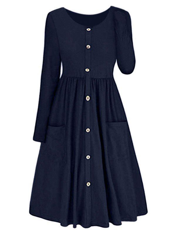 Best Long Sleeve A-line Button Front Dress