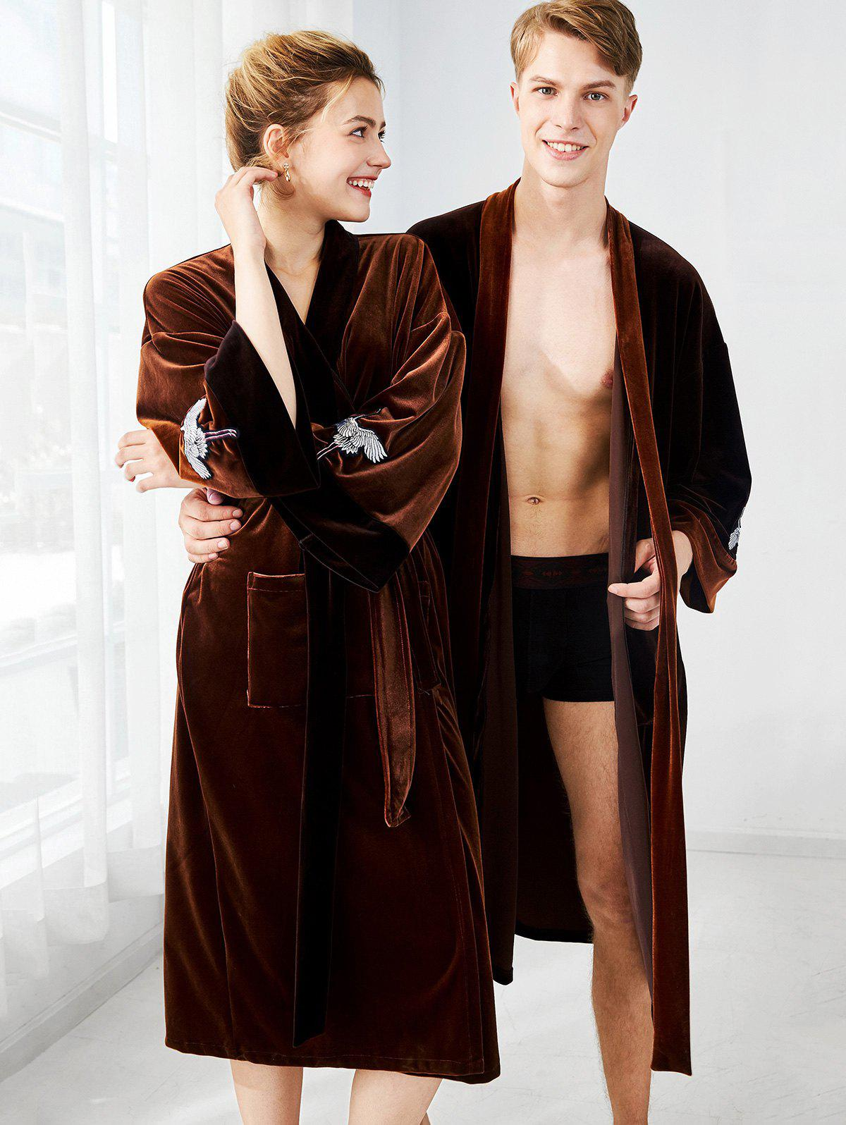 Trendy Belted Velvet Matching Couple Pajamas