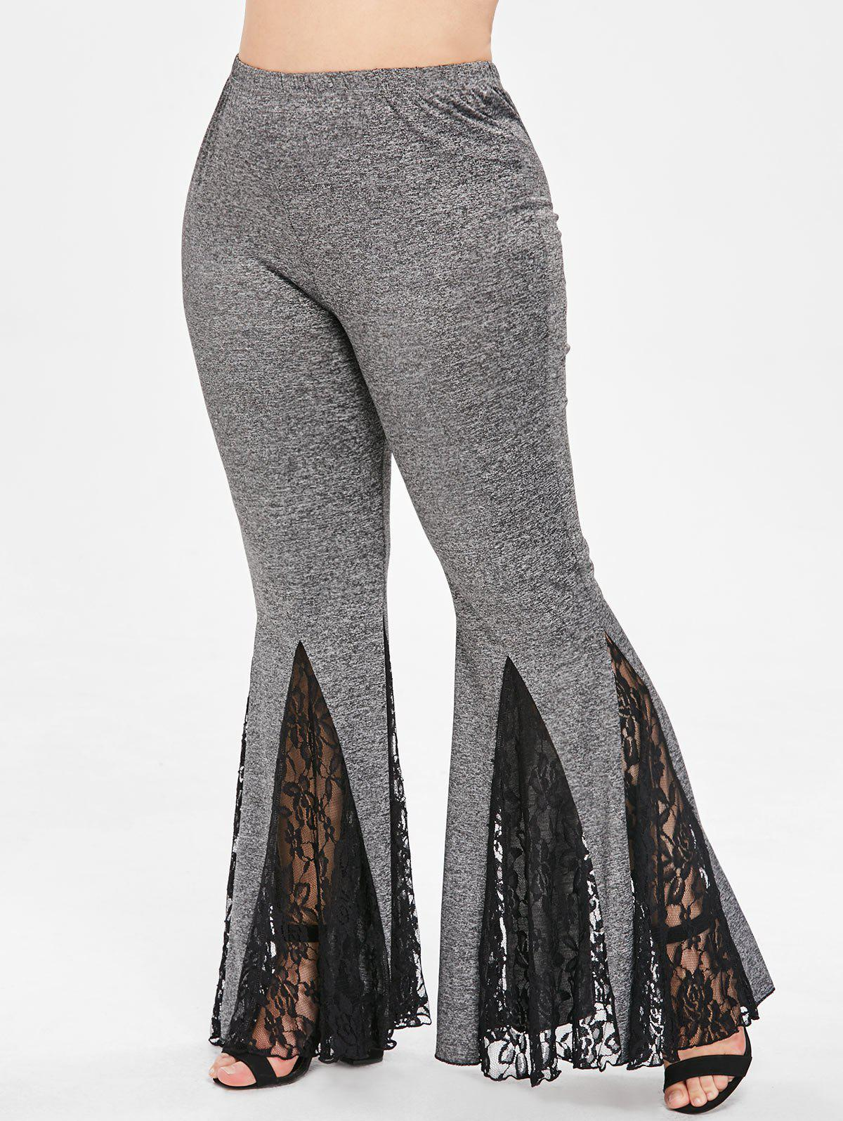 Outfit Plus Size Lace Insert Bell Bottom Pants