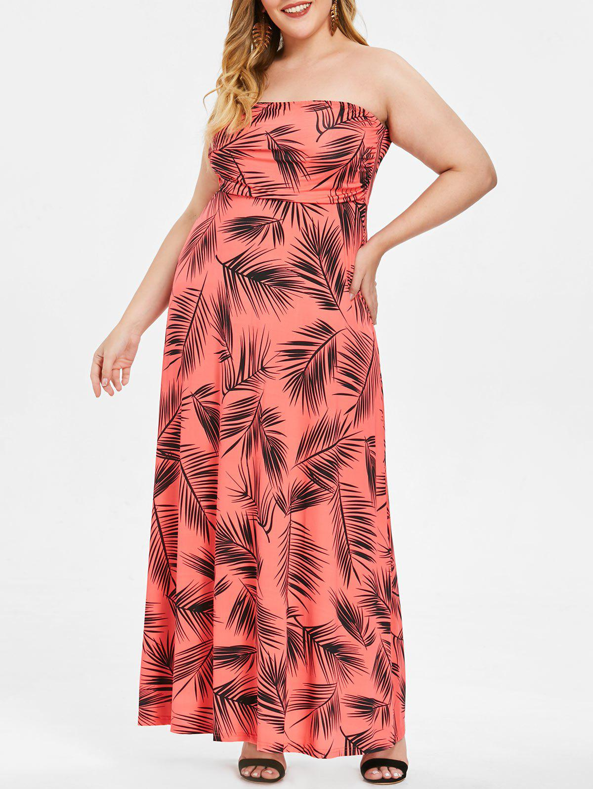 Strapless Plus Size Tropical Print Maxi Dress