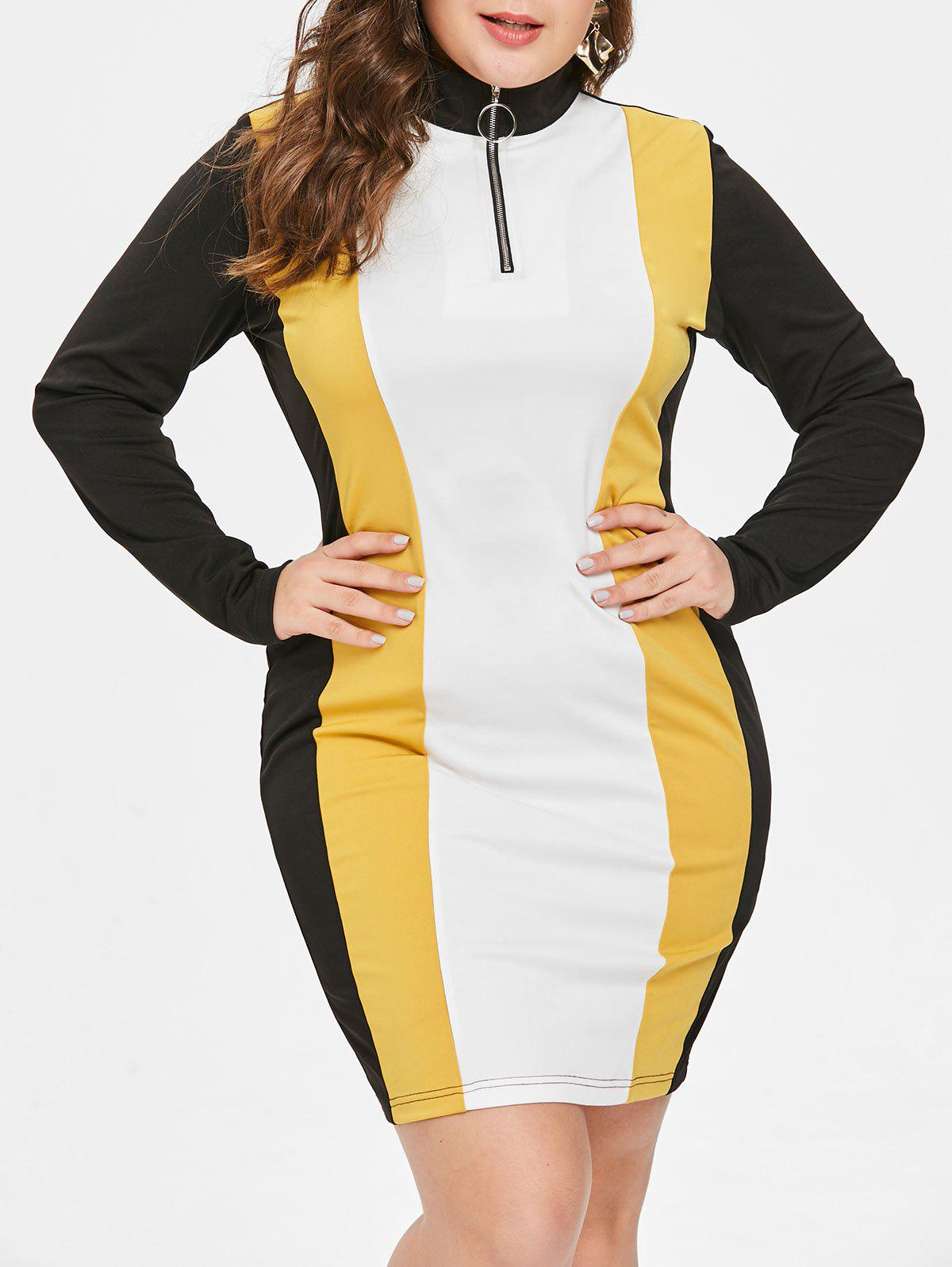 Latest Plus Size Color Block Bodycon Dress