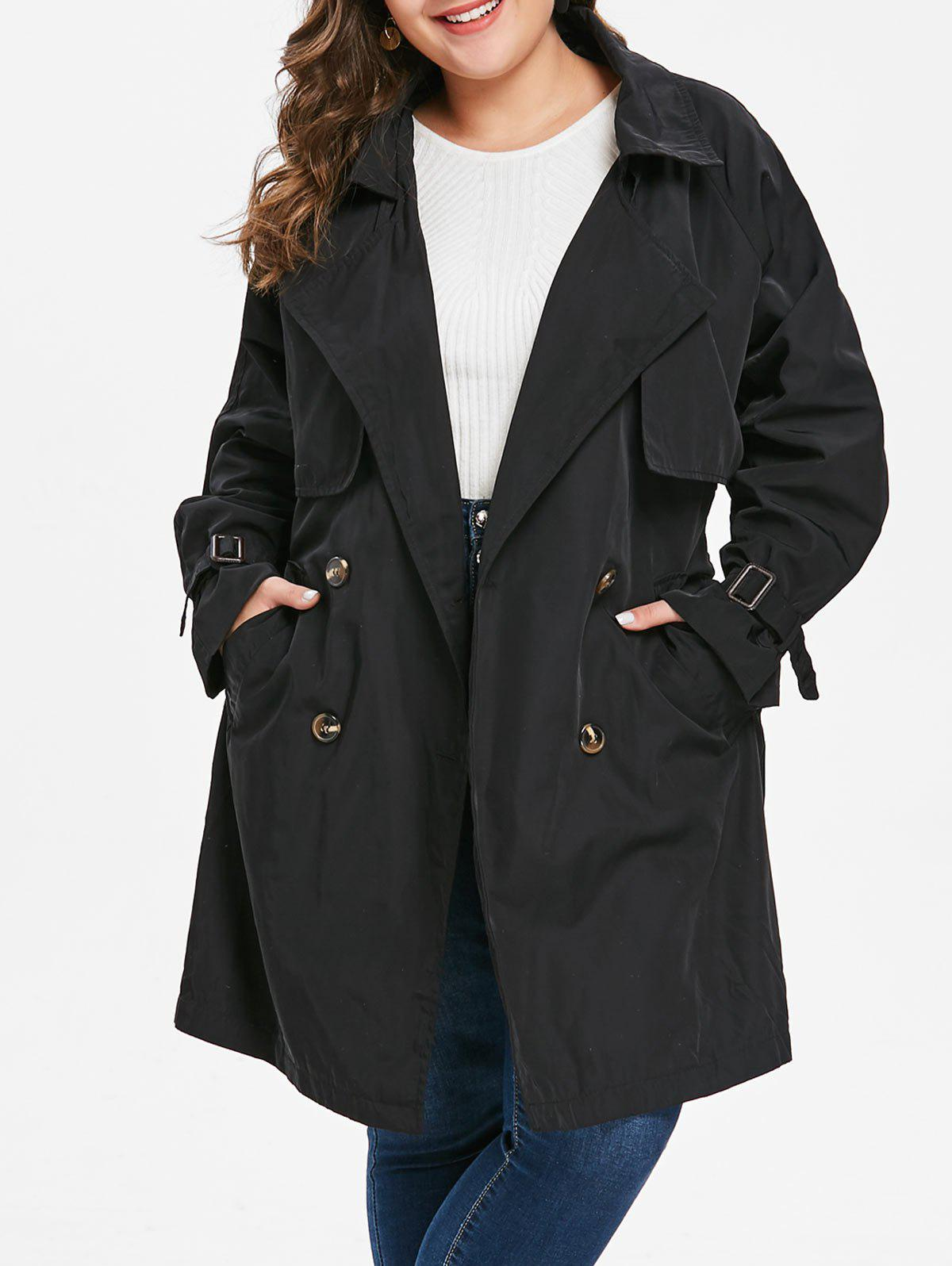 Best Plus Size Double Breast Longline Trench Coat