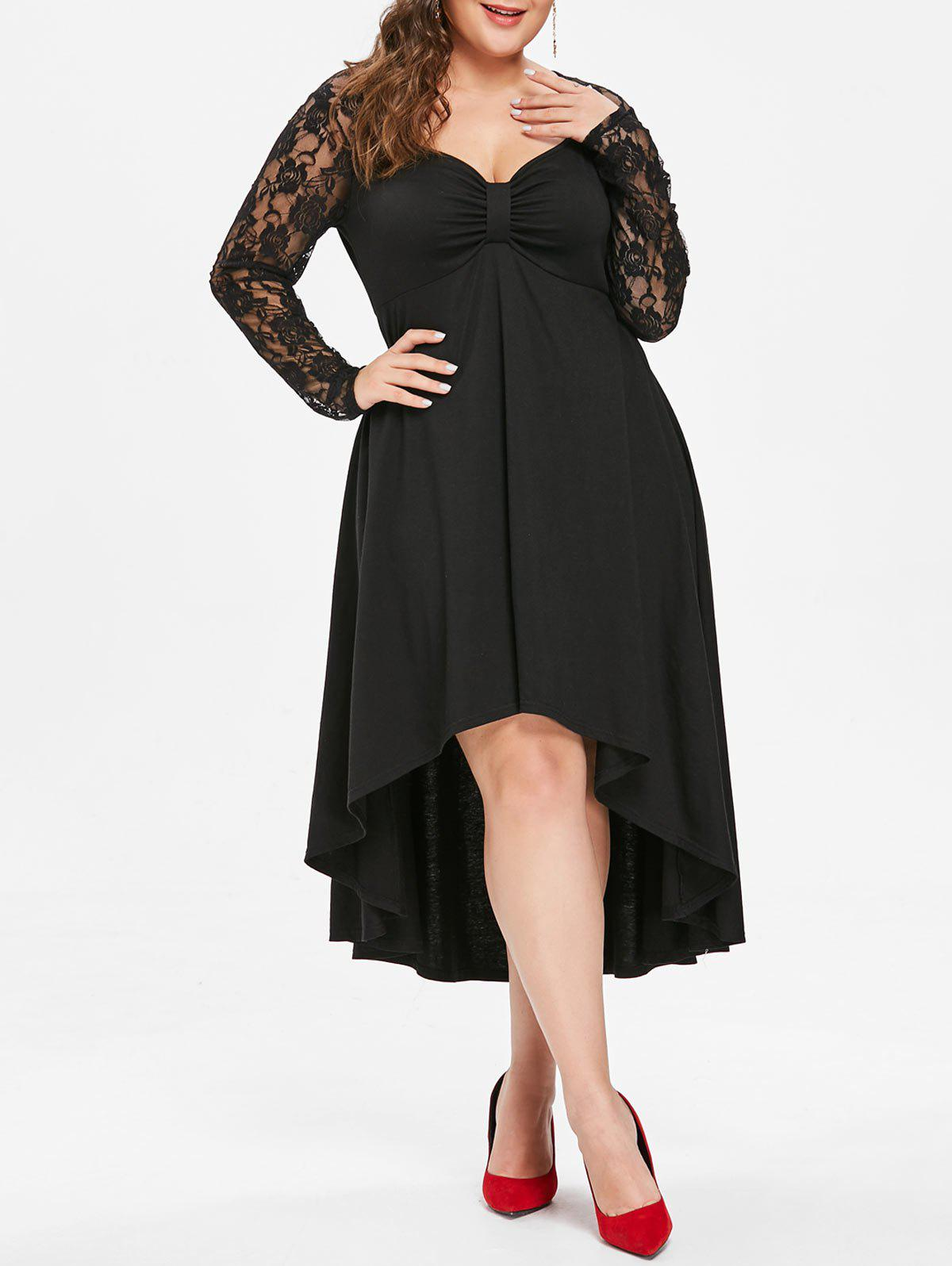 Trendy Plus Size Lace Sleeve Knot Neck High Low Hem Dress