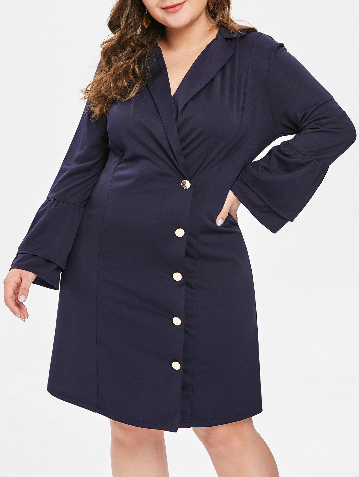 Trendy Lapel Neck Button Detail Plus Size Dress