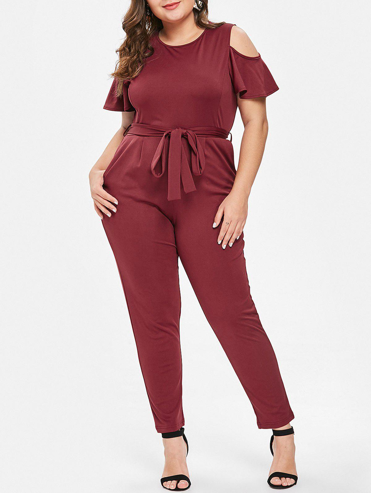 Outfits Cold Shoulder Round Neck Plus Size Jumpsuit