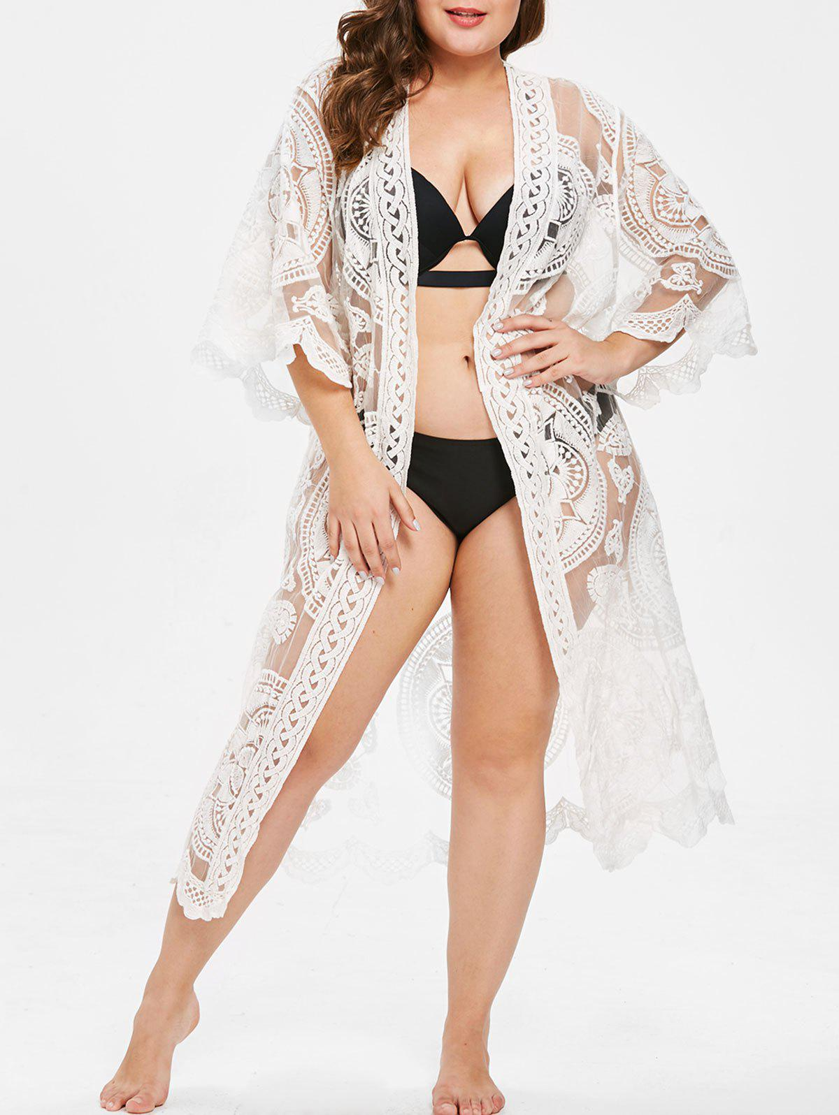 Online Collarless Lace Plus Size Long Cover Up
